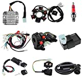 Complete Wiring Harness kit for ATV Quad 4 Four Wheelers 50CC 70CC 110CC 125CC Go Kart Dirt Pit Bikes With Electrics Stator Coil CDI Wiring Harness Solenoid Relay Spark Plug by KAKO
