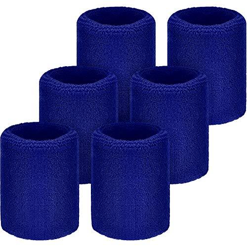 WILLBOND Schweißbänder für Fußball, Basketball, Laufen, Athletik, Blau, 6 Stück
