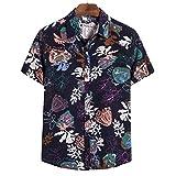 Corumly Chemises à Manches Courtes pour Hommes Été Mince de Grande Taille Chemises à Manches Courtes imprimées à la Mode Chemises à Manches Courtes décontractées à Blocs de Couleur Ample 5XL