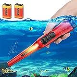 AFOZO Detector de Metales Pinpointers Totalmente IP68 Resistente al Agua hasta 10 Metros Detector de Metales de Mano subacuático Varita 360 ° Ultra Sensible con Funda para Adultos Niños (Rojo)