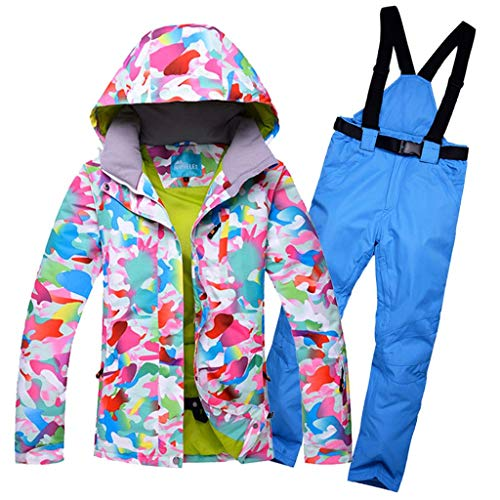 JXS-Outdoor dames ski-jas broek sneeuw pak - winddicht snowboarden skiën - ademende rits met afneembare verstelbare riem, blauw, XL