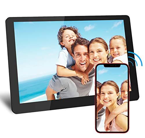LUREOWEN Digitaler Bilderrahmen, 10,1 Zoll HD WiFi Elektronischer Bilderrahme mit 1280*800 IPS-Display 1080P, Automatischer Drehung, Teilen Sie über die App oder E-Mail, Unterstützt USB-und SD-Karte
