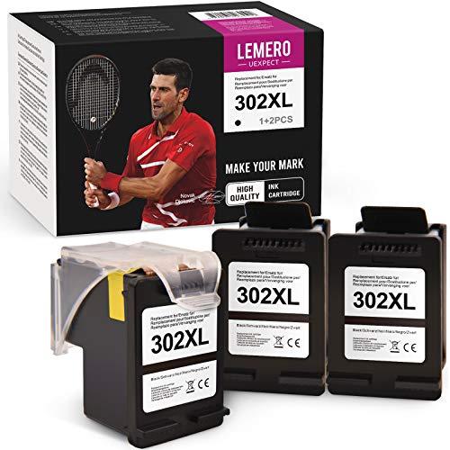 LEMERO UEXPECT Kompatibel mit HP 302XL HP 302 Druckerpatronen für HP DeskJet 1110 DeskJet 2130 3630 3636 3639 OfficeJet 3830 3831 3833 OfficeJet 4520 4525 4527 4650 5230 Envy 4510 4525(1+2 Schwarz)