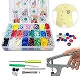 SUNTATOP Pinze a Scatto + Set 360 Bottoni in Resina T5 Bottoni a Pressione in Resina FAI DA TE 24 Colori (Set di pulsanti) inze in Metallo