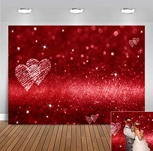 Bokeh Love Heart Photo Background Polyester 7x5ft Red Glitter Sequin Glitter Photography Backdrop...