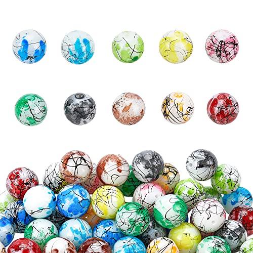 PandaHall 10 cuentas de cristal de 16 mm de color pintadas para hornear, 60 cuentas de burbujas para Pascua, collares, pulseras, joyas, pendientes, manualidades