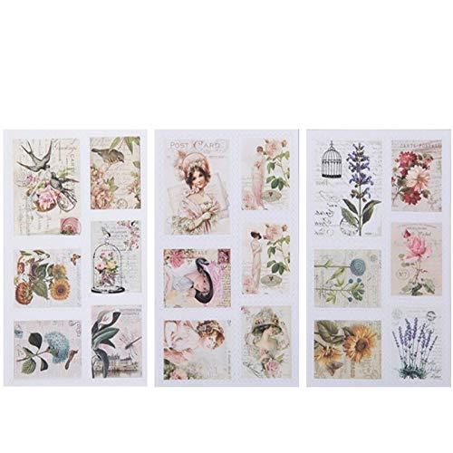 BLOUR postzegels in vintage-design, papieren stickers om zelf te maken, zakstickers, latte-stickers, scrapbooking voor de decoratie van albums, 3 stuks