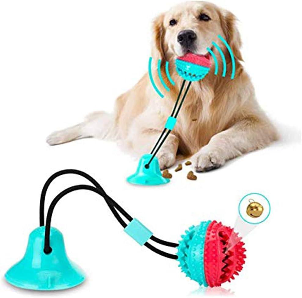 Juguete Molar Multifuncional para Mascotas, Juguete de Cuerda para Perros con Ventosas Pelota Limpiar los Dientes Juguetes Educativos Interactivos Adecuados para Perros Pequeños y Medianos