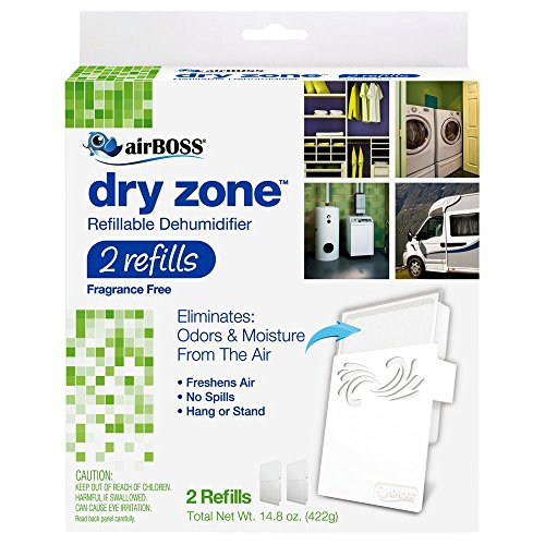 airBOSS Dry Zone Refillable Dehumidifier 2 Refills (1) Fights Mildew and Odors, Fragrance Free