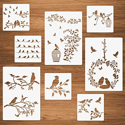 Vögel Schablonen, 8 Packungen Vogel auf Ast Blätter Bäume Draht Vogelkäfig Fliegende Vögel Weinrebenmuster Malerei Resuable Vorlagen für Wände Karte Herstellung von Holzmöbeln DIY-Projekte