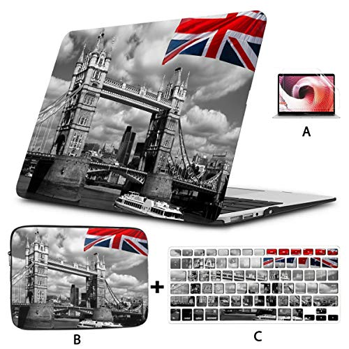 Hard Laptop Cases England UK Flag London City Tower Bridge New MacBook Air Case Hard Shell Mac Air 11'/13' Pro 13'/15'/16' with Notebook Sleeve Bag for MacBook 2008-2020 Version