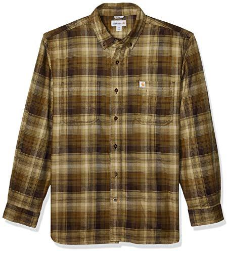 Carhartt Herren Rugged Flex Hamilton Plaid Flannel Shirt Button Down Hemd, Military Olive, Groß