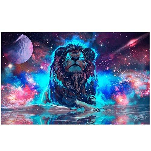 Artaslf DIY Diamante Bordado Pintura Animal Galaxia Color del Espacio Lion Cuadrado Completo Mosaico Artesanal Arte de Pared Decoración del Hogar Regalo - 40 x 60 cm sin marco