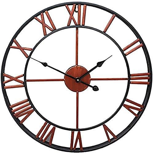 Reloj de Pared para jardín al Aire Libre, números Romanos Grandes, Reloj de jardín, Hierro Forjado, Resistente al Agua, Reloj para Exteriores, Cara Abierta, Metal, Bronce, Exterior, Reloj pa