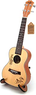 Ukulele Ukelele Spruce with Ukulele Wooden Scaffold Ukele Uke Concert Music Instrument for Beginner Adult Kid 23 inch 4 St...
