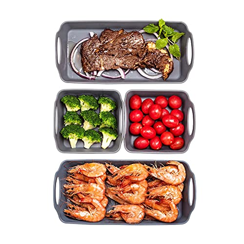 SlogPith Nonstick Baking Sheet Pan,Silicone Baking Tray Dividers Sheet Set,Cooking Sheets for oven,Heatproof Handles in a Pack of 4