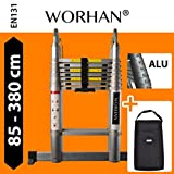 WORHAN® Double Telescopic Ladder 3.8m with Aluminum Rings Foldable Extendable Multipurpose Aluminium A Frame Robust AK3.8+Bag