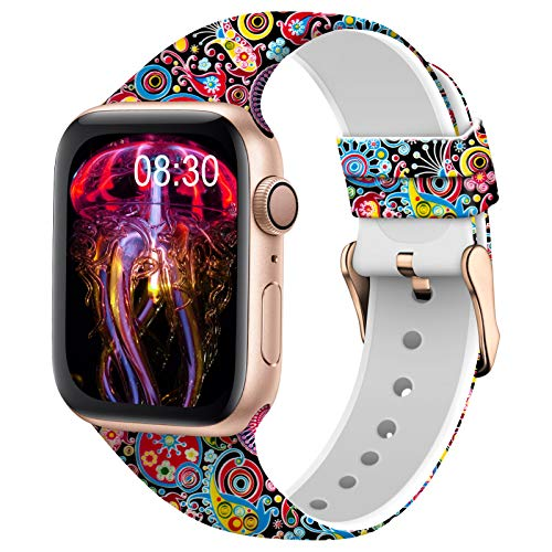TSAAGAN Silicone Pattern Printed Band Compatible for Apple Watch Band 38mm 42mm 40mm 44mm, Floral Soft Sport Replacement Strap Wristband for iWatch Series 6/5/4/3/2/1 (Jellyfish, 42mm/44mm)