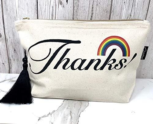 Sac à maquillage en toile crème « Rainbow Thank »