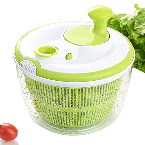 Large Salad Spinner BPA Free-Manual Lettuce Dryer and Vegetable Washer with Quick Dry Design,Draining Lettce and Vegetable with Ease,including Clear Plastic Bowl and Colander Basket, 4.5qt,Green