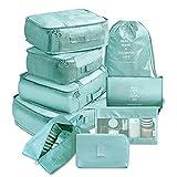 TYLC Organizador de Viajes 9 Piezas Conjunto Bolsas de Almacenamiento Conjunto de Maleta Conjunto de Equipaje portátil Ropa de Equipaje Calzado Punto ordenado (Color : Sky Blue 9pcs)