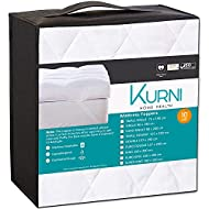 KURNI ® Small Double Mattress Topper 4 Inch White, Quilted Microfibre Soft, Hypoallergenic with Elas...
