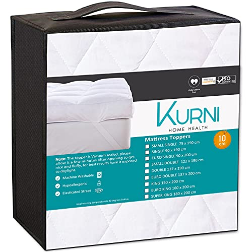 KURNI ® Mattress Topper Double 4 Inch White, Quilted Microfibre Soft,...