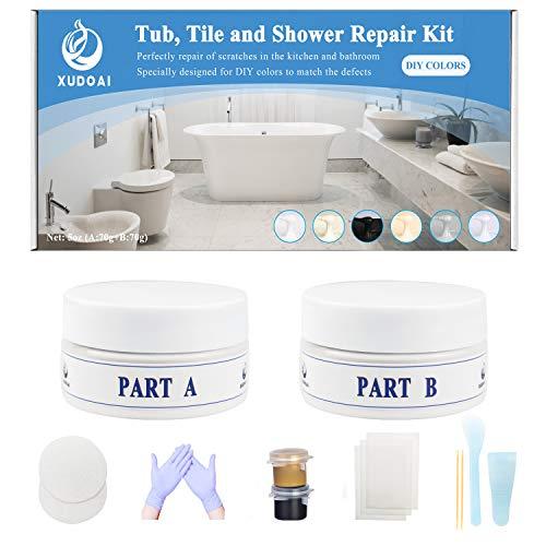 Kit de Reparación de Bañera, Azulejos y Ducha, Kit de Reparación de Bañera Acrílica de Fibra de Vidrio Serie Marrón y Gris de 5 oz