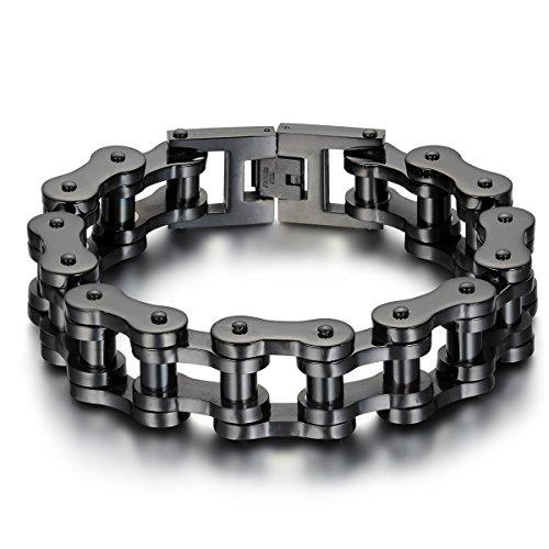 JewelryWe Eslabones de la Cadena de la Pulsera de la joyería de los Hombres de Las Mujeres de Acero Pulsera Grande Negro
