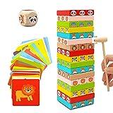 Euyecety Juegos Educativos Torre de Bloques, 4en1 Juguete Aprendizaje Montessori con Colores y Animales, Juguete de Madera Juego Familiar Clásico Juego de Mesa, Regalo para 3 4 5 6 7 8 años Niño Niña