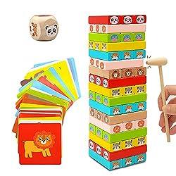 🦁[Giocattoli Educativi e Sicurezza] Euyecety classico giocattolo in legno è realizzato in legno di faggio di alta qualità, vernice solubile sicura. Il nostro gioco da tavolo non ha alcun odore sgradevole e ben confezionato. La superficie del giocatto...