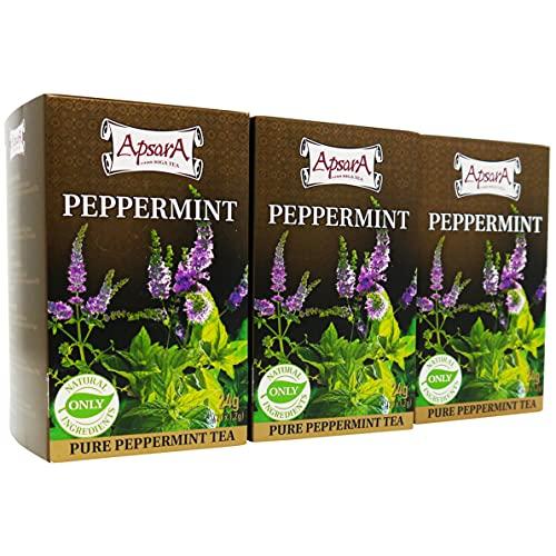 Té de menta pura Apsara con 100% menta natural, té de hierbas - refrescante y lleno de sabor, té de menta en un juego de 3-60 bolsitas de té
