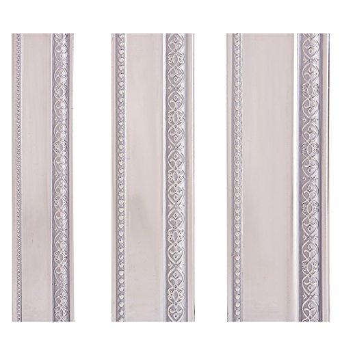 Stuckleisten Deckenleisten Kunststoff lackiert - Moderne Zierleisten in verschiedenen Farben & Größen (145 x 6 x 1,3 cm, Silber)