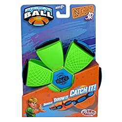 Throw a disc, catch a ball. Phlat Ball is a unique transforming toy that turns from a 5.75 inch flying disc to a 4 inch diameter ball This cool version of Phlat Ball Junior comes in 6 awesome colours either neon or metallic With a soft, flexible plas...