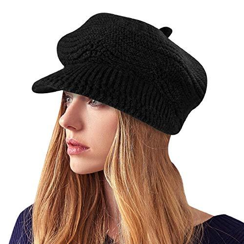 Yuson Girl Cappelli Invernali per Le Ragazze delle Donne Calde Calza Cappello di Sci di Neve di Neve della Neve con la Visiera (Nero)