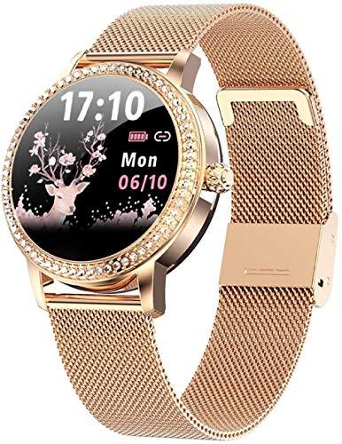 Moda mujeres s reloj inteligente 1.1 pulgadas círculo completo pantalla táctil DIY dial función Diosa Mantener vitalidad de la piel asistente personal Regalos para las mujeres Plata-Oro