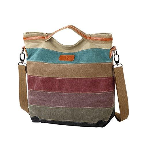 Wildlead Women Canvas Handbag Multi Color Striped Cross Across Body Handbag Shoulder Bag Tote Hand Bag