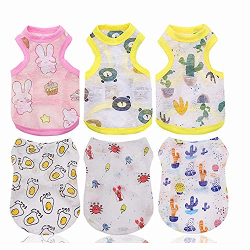 Set of 6 Dog Outfits for Small Dogs - Dog Shirts for Small Medium Dogs - xs Dog Clothes - xs Puppy Clothes Girl - Chihuahua Clothes - Dog Tshirt - ropa para Perros (X-Small, 6PC)