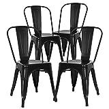 N/Q - Set di 4 sedie per sala da pranzo, stile industriale, in metallo, impilabili, per interni ed esterni, colore: Nero