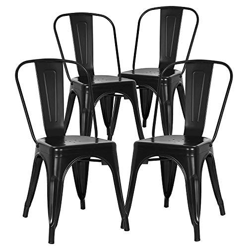 N/Q Lot de 4 Chaises de Salle à Manger Style Industriel Chaise Métal Empilable Intérieur/Extérieur (Noir)