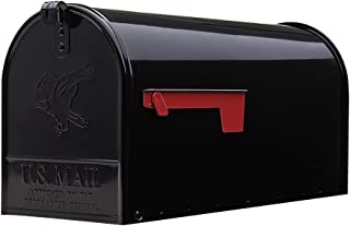 Gibraltar Mailboxes Elite Large Capacity Galvanized Steel Black, Post-Mount Mailbox, E1600B00