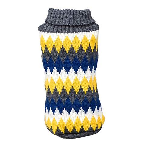 Keepwin Haustier-Hundekatze-Winter Warme Rollkragen Strickjacke, Geometrisches Druckpullover Mantel Kostüm (S, Gelb)