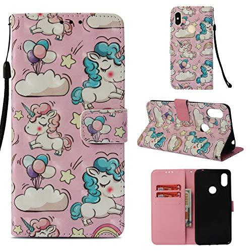 Funluna Xiaomi Redmi S2 Hülle, Flip Handy Stoßfest Lederhülle Brieftasche, Trageschlaufe, Kartenfächer, Magnetverschluss Handytasche für Xiaomi Redmi S2 - Rosa Einhorn