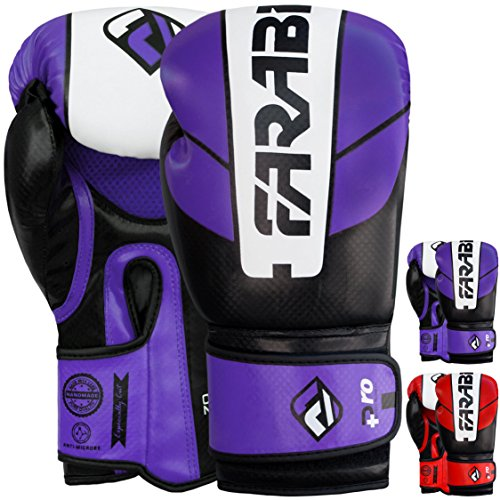 Farabi Sports Boxing Gloves Training Punching Bag Kick Boxing Muay Thai Bag Gloves (Purple/Black, 14-oz)