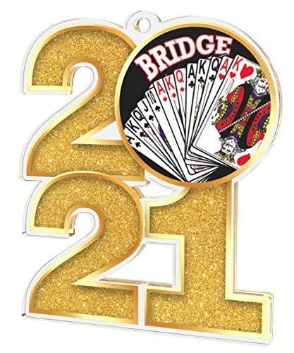 Trophy Monster Paquete de medallas de puente 2021 incluye 5 medallas y cintas, clubes, fiestas y empresa, hecho de acrílico impreso, 70 mm (8 tamaños)