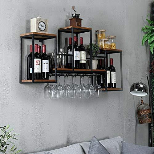 Botellero alto de cristal para colgar en la pared de metal + estante de madera para botellas de vino, vasos, etc.