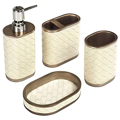 Set di 4 Accessori Bagno Effetto Pelle Set da Bagno Completo con Tazza Dispenser Sapone Liquido/Bottiglia di Lozione Portasapone Portaspazzolino Idea Regalo Moderno Oro Bronzo+Beige
