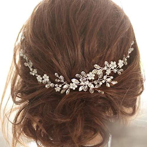 Simsly Brautschmuck, Hochzeits-Haarreif, Blume, Silber, Brautschmuck, Kristall, Hochzeits-Stirnband, Haar-Accessoires für Frauen und Mädchen