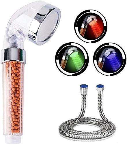 Alcachofa de ducha de mano, 7 colores LED, con manguera, ducha LED, ducha de baño, alcachofa de ducha de alta presión, ahorro de agua, pulverizador y doble filtro anticloro.
