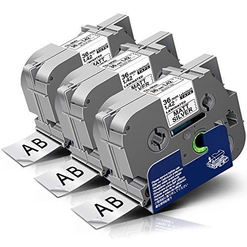 3x Labelwell Tzc-961 36mm Kompatibel Schriftband Ersatz für Brother Tz TZe-961 TZe961 Schwarz auf Silber für Brother P-touch RL-700S PT-530 550 P950NW P900W E850T PT-3600 9200PC Beschriftungsgerät